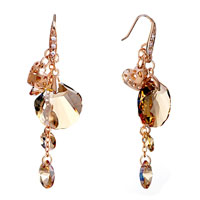 Earrings - heart november birthstone topaz crystal drop fan dangle earrings Image.
