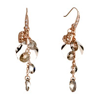 Earrings - golden heart gray swarovski crystal drop fan dangle earrings Image.