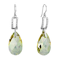Earrings - rectangle clear detailed crystal dangle jonquil drop earrings gift Image.