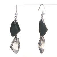 Earrings - classic black gray swarovski crystal utopian drop dangle earrings Image.