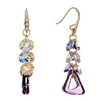 Earrings - color light cluster purple birthstone swarovski triangle dangle crystal earrings Image.