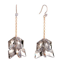 Earrings - gray clear cz crystal double rhombus hook dangle glam earrings Image.