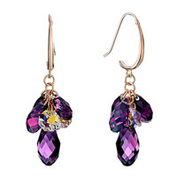 Earrings - february birthstone swarovski purple crystal cluster pave teardrop dangle earrings Image.