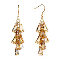 Earrings - november birthstone swarovski topaz crystal ladders dangle earrings Image.