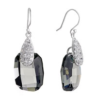 Earrings - drop detailed crystal black gray swarovski oval dangle earrings Image.