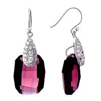 Earrings - drop detailed crystal dangle purple february birthstone swarovski utopia rectangle earrings Image.