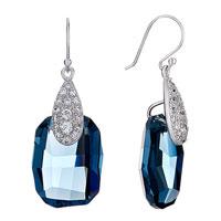 Earrings - drop detailed crystal march birthstone swarovski aquamarine oval dangle earrings Image.
