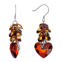 Earrings - november birthstone topaz crystal cluster light siam swarovski heart dangle earrings Image.