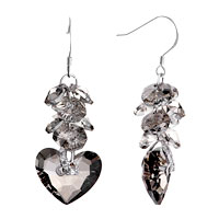 Earrings - black gray crystal cluster dangle swarovski heart earrings Image.