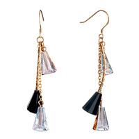 Earrings - black clear swarovski crystal trumpets dangle earrings Image.