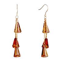Earrings - classic november birthstone swarovski topaz crystal trumpet dangle earrings Image.