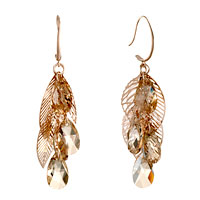 Earrings - classic leaf november birthstone topaz crystal drop dangle earrings Image.