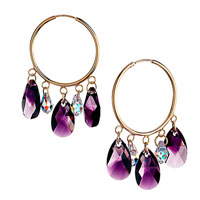 Earrings - beautiful hoop dangle february birthstone purple swarovski crystal drops earrings Image.
