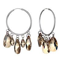Earrings - hoop dangle november birthstone swarovski topaz crystal drop earrings Image.
