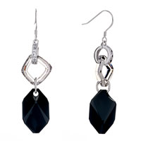 Earrings - clear crystal quadrangle dangle black zircon rhombus earrings Image.