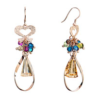 Earrings - heart ribbon dangle colorful crystal cluster light topaz artemis earrings gift Image.