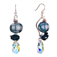 Earrings - stick heidan stone bead black shell flower dangle color light crystal drop earrings gift Image.