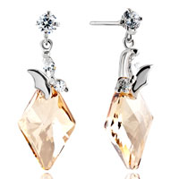 Earrings - clear crystal round dangle butterfly light color topaz rhombus earrings gift Image.