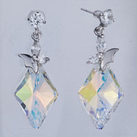 Earrings - clear crystal round dangle butterfly color light rhombus earrings gift Image.
