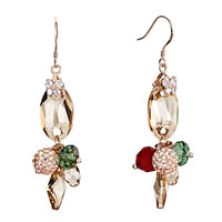 Earrings - butterfly crystal light color topaz oval dangle colorful cluster earrings gift Image.