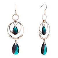 Earrings - rose gold circle dangle blue zircon amethyst crystal drop earrings gift Image.