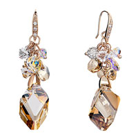 Earrings - ball crystal cluster dangle topaz three dimensional rhombus earrings Image.