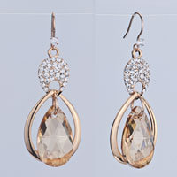 Earrings - inverted drop detailed crystal dangle light color topaz earrings gift Image.