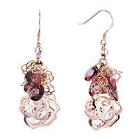 Earrings - amethyst crystal cluster dangle rose gold flower containing april birthstone clear earrings gift Image.