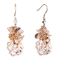 Earrings - light color topaz crystal cluster dangle flower containing april birthstone clear earrings gift Image.