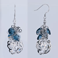 Earrings - montana crystal cluster dangle flower containing april birthstone clear earrings gift Image.