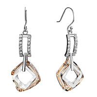 Earrings - rectangle detailed crystal dangle light color topaz cosmic square ring earrings gift Image.