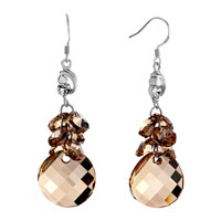 Earrings - classic topaz cluster swarovski crystal dangle round waterdrop earrings Image.