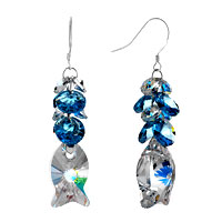 Earrings - classic aquamarine waterdrop swarovski crystal dangle fish elf earrings Image.