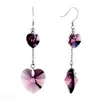 Earrings - classic february birthstone light amethyst swarovski crystal double heart dangle earrings Image.