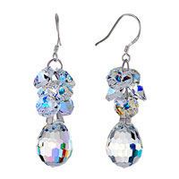 Earrings - april birthstone clear swarovski crystal cluster drop dangle gift earrings Image.