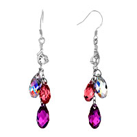 Earrings - fancy classic clear pink rose crystal dangle waterdrop earrings Image.