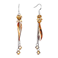 Earrings - november birthstone topaz swarovski crystal asymmetric falldrop dangle earrings Image.