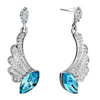 Earrings - half wing clear crysta l&  march birthstone aquamarine stud earrings Image.