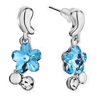 Earrings - silver bud dangle march birthstone aquamarine swarovski crystal flower gift earrings Image.