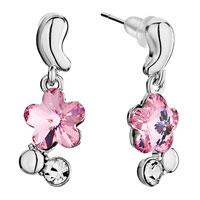 Earrings - silver bud dangle october birthstone light rose swarovski crystal flower gift earrings Image.