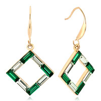 Earrings - clear green swarovski crystal frame dangle earrings Image.