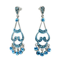 Earrings - genuine blue filigree vintage antique chandlier floral dangle earrings Image.