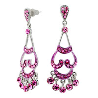 Earrings - genuine pink filigree vintage chandelier floral dangle earrings Image.