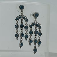 Earrings - deep blue filigree vintage antique dangle earrings Image.