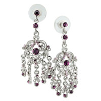 Earrings - february birthstone floral dangle earrings Image.