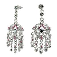 Earrings - flower pink filigree vintage antique chandlier floral dangle earrings Image.