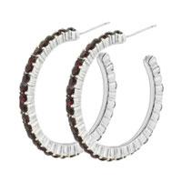 Earrings - simple 925  sterling silver dark red hoop jewelry &  pink earrings Image.