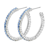 Earrings - 925  sterling silver blue hoop jewelry color dangle earrings Image.