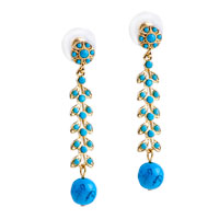 Earrings - dangle blue ball catkin pattern earrings gifts to your lover Image.