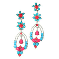 Earrings - fashion summer' s double flower colorful dangle drop earrings Image.